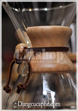 Đai gỗ và dây da bình pha Chemex 6 cup