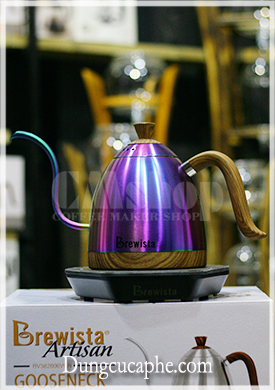 Ấm đun rót cafe cổ ngỗng có kiểm soát nhiệt độ Brewista Artisan 600ml - Màu ánh kim