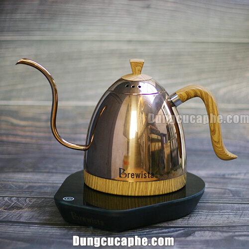 Ấm rót cổ ngỗng 600ml Brewista có kèm bếp đun pha cà phê – Màu Rose Gold