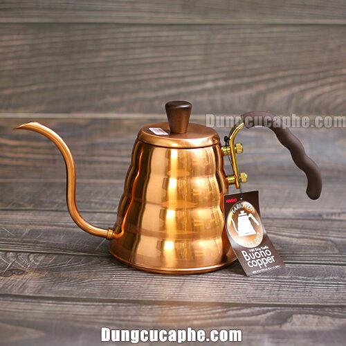 Ấm rót cafe đồng Hario Buono 900ml V60 Drip Kettel Buono Copper VKBN-90CP