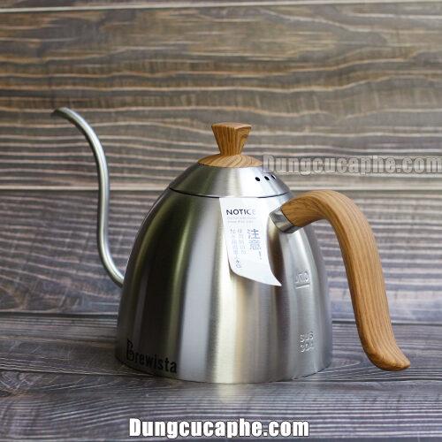 Ấm rót cafe Brewista màu thép