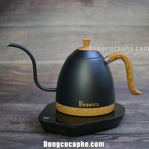 Ấm rót drip Brewista Artisan 0.6l kiểm soát nhiệt độ thời gian thực màu đen tay gỗ