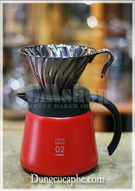 Bình đừng kim loại cà phê kết hợp với phễu lọc V60