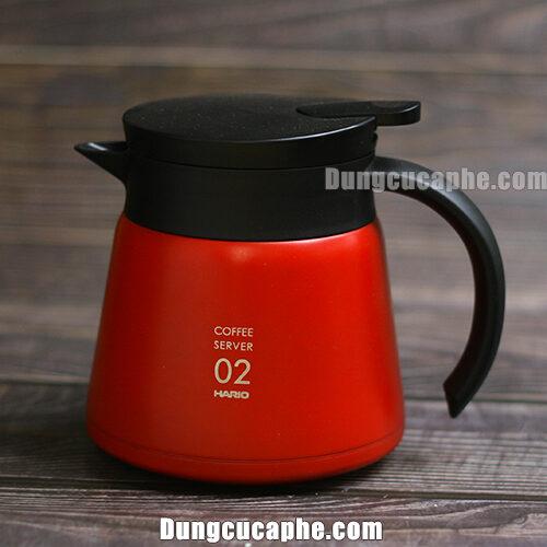 Bình đựng Trà và cà phê kim loại hai lớp cách nhiệt Hario đỏ 600ml VHS-60