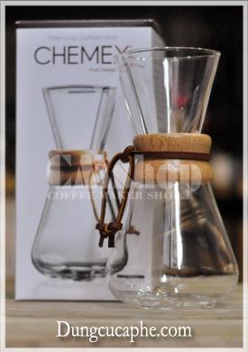 Bình pha cà phê thủy tinh Chemex 3 cup đai gỗ