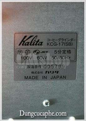 Bảng thông số và mã sản xuất nội địa Nhật bản của Kalita Next G
