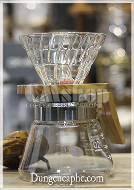 Bộ dụng cụ pha cà phê Pour Over Hario gỗ ô liu