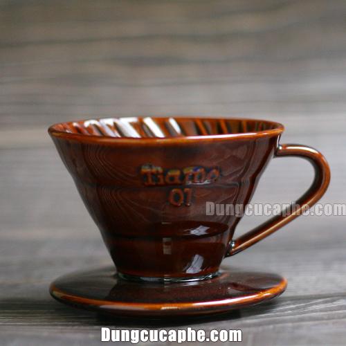 Bộ lọc cà phê bằng sứ Tiamo V60 màu nâu cỡ nhỏ 01