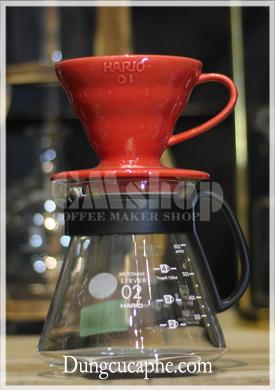 Bộ phễu lọc cà phê Hario V60 Dripper VDC-01 sứ đỏ và bình đựng Hario