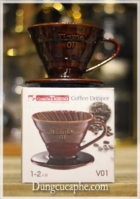 Bộ phễu lọc cà phê hình nón Tiamo V01 sứ nâu full box