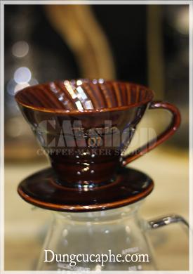 Bộ phễu lọc cà phê hình nón Tiamo V01 sứ nâu