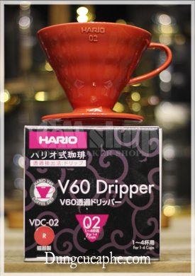Bộ phễu lọc cafe Hario V60 Dripper VDC-02 Red full box