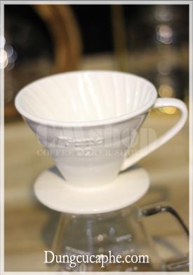 Bộ phễu lọc pha cà phê sứ trắng Tiamo 02 cao cấp