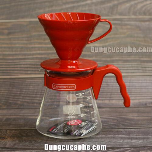 Bộ pha cà phê Drip cho người mới bắt đầu Hario VCSD-02R màu đỏ