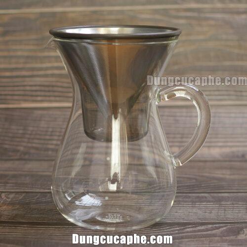 Bộ pha cà phê Pour Over phễu lọc kim loại Kinto 4 cup