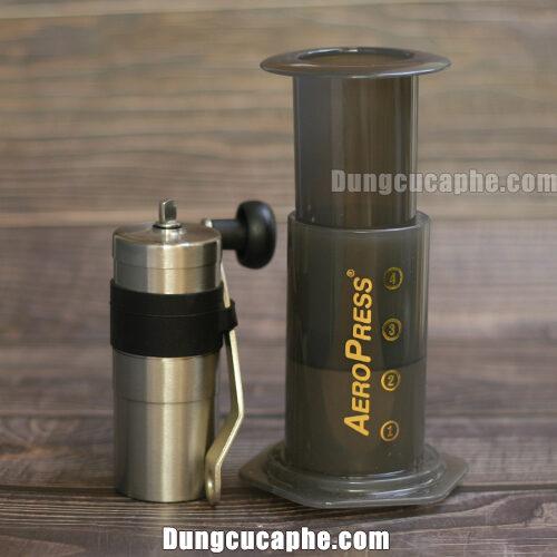Combo dụng cụ cà phê du lịch 01 Máy xay tay Porlex mini + Phin Aeropress