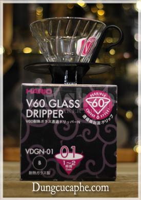 Dụng cụ lọc cà phê thủy tinh hình phễu 60 độ Hario Glass 01