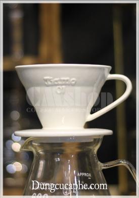 Dụng cụ pha cà phê bằng phễu lọc Tiamo V60 01 sứ trắng