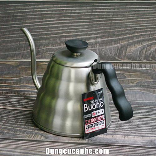 Góc chụp đằng sau ấm rót cà phê Drip Hario Buono 1200ml