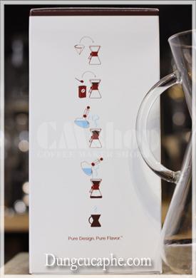 Hướng dẫn cách sử dụng bình pha cà phê Chemex in trên vỏ hộp