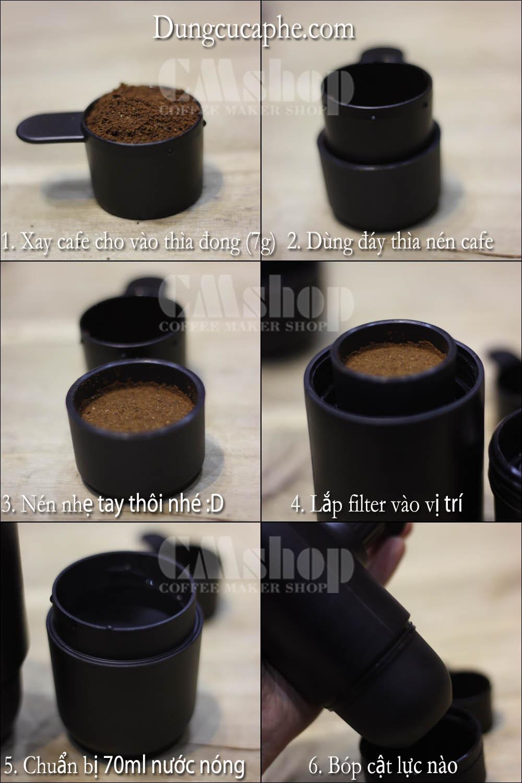 Hướng dẫn pha cà phê bằng dụng cụ Espresso cầm tay Wacaco Minipresso qua các bước đơn giản
