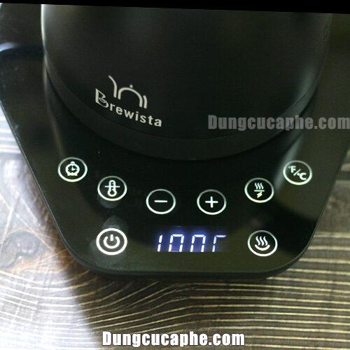 Hiển thị nhiệt độ khi đặt ấm nên trên bếp Brewista