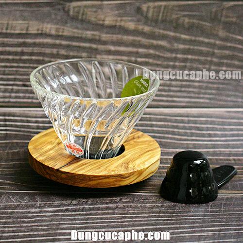 Phễu lọc Hario V60 thủy tinh đế gỗ Olive VDG-02-OV Made in Japan