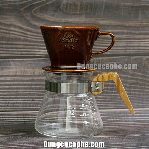 Phễu lọc Kalita 102 và bình đựng cà phê gỗ Olive Hario