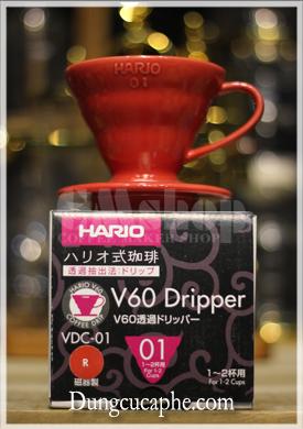 Phễu lọc cà phê Hario V60 Dripper VDC-01 sứ đỏ full box