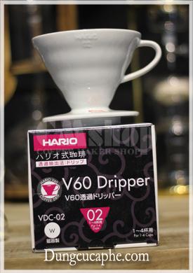 Phễu lọc cà phê Hario V60 Dripper sứ trắng VDC-02