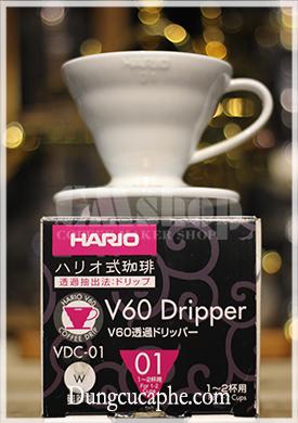 Phễu lọc cà phê Hario sứ màu trắng 01