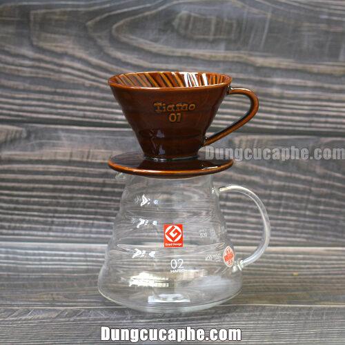 Phễu lọc cà phê Tiamo 01 kết hợp với bình đựng Hario