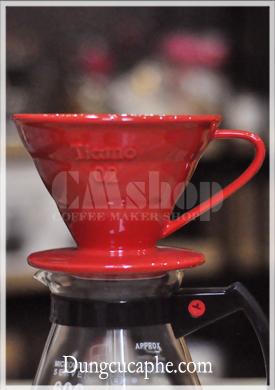 Phễu lọc cà phê Tiamo V60 đỏ cỡ 02