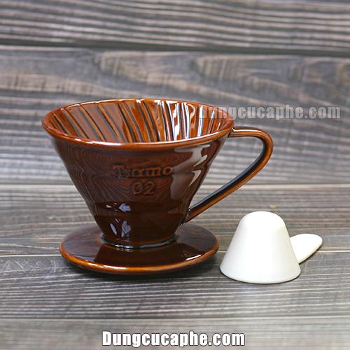 Phễu lọc cà phê V60 Tiamo nâu 02