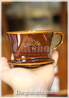 Phễu lọc cà phê màu nâu Kalita 101 gốm
