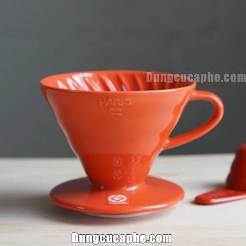 Phễu lọc cafe Hario V60 men sứ đỏ 02