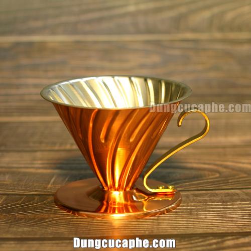 Phễu lọc pha cà phê đồng Hario V60 Cooper Dripper 02