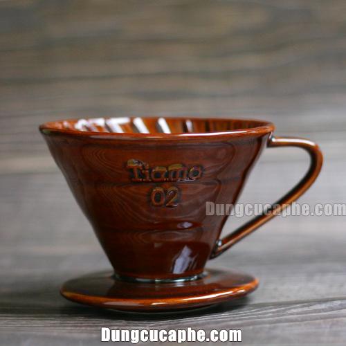 Phễu lọc pha cà phê Tiamo V60 sứ nâu cỡ 02