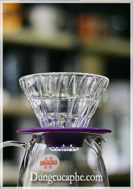 Phễu lọc thủy tinh size nhỏ 1-2cup trong bộ mini Kit Hario màu tím VGS-3512-PU