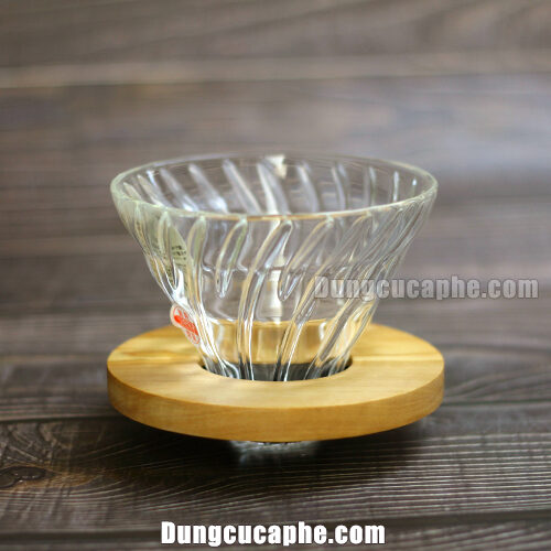 Phễu pha cà phê Hario V60 Glass Dripper Olive Wood VDG-02-OV