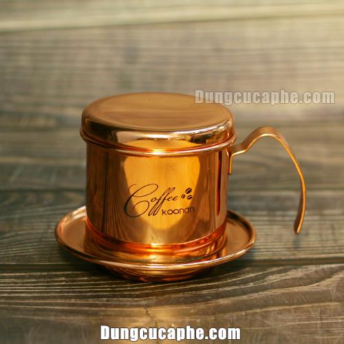 Phin inox màu đồng pha cafe cao cấp Koonan