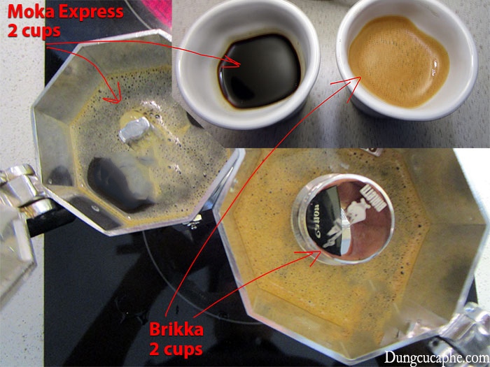So sánh cà phê pha bằng Moka Express và Moka Brikka