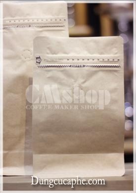 Túi kraft đựng cafe có zip lót bạc 250g