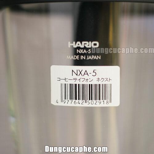 Tem dán và tên thương hiệu được in trên syphon Hario next NXA-5