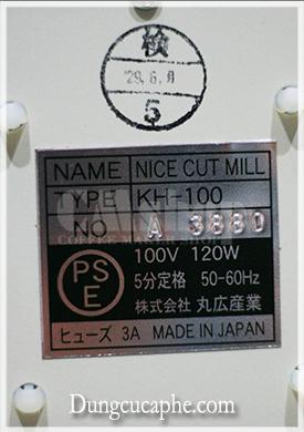 Thông số của máy xay cà phê Kalita Nice Cut G chuyên dụng cho Pour Over