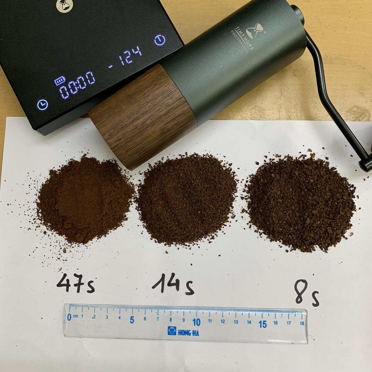 Thời gian xay và cỡ bột bằng Timemore Chestnut G1